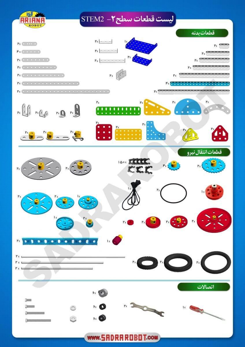 لیست قطعات بسته ی آموزشی آریانا سطح 2 (STEM 2)